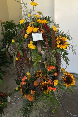 Sunflower Grapevine Wreath from Kelley's Florist in Lake Placid, FL