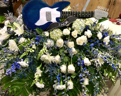 Guitar Casket Spray from Kelley's Florist in Lake Placid, FL