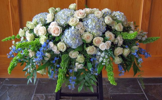 Blue For You Casket Spray from Kelley's Florist in Lake Placid, FL