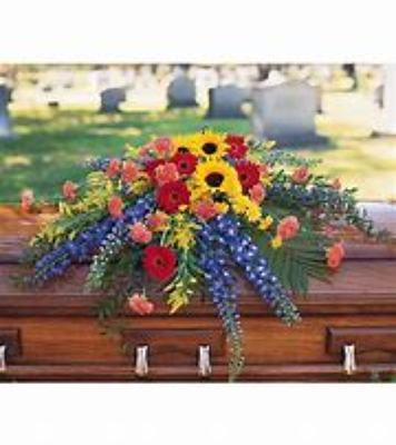 Casket Spray With Sunflowers from Kelley's Florist in Lake Placid, FL