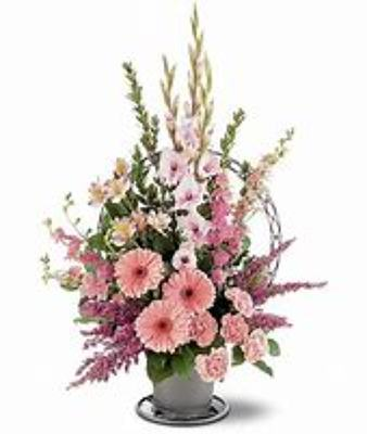 Delightful Pink Funeral Basket from Kelley's Florist in Lake Placid, FL
