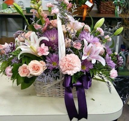 Purple and Pink Funeral Basket from Kelley's Florist in Lake Placid, FL