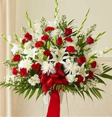 Red and White Funeral Basket from Kelley's Florist in Lake Placid, FL