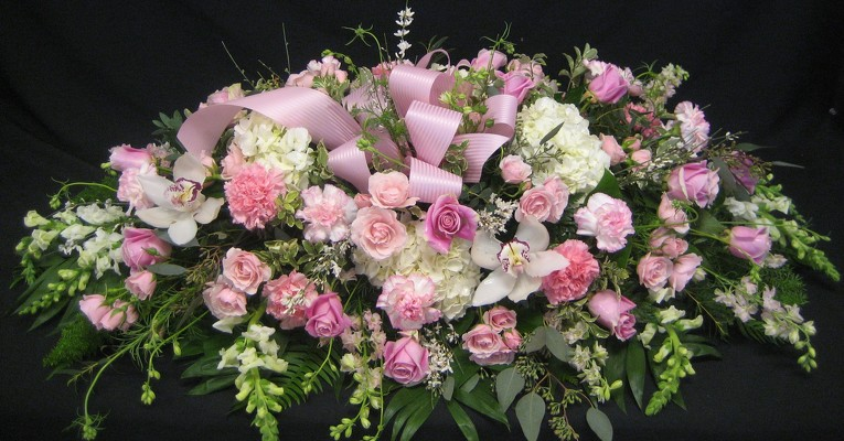 Pink and White Casket Spray from Kelley's Florist in Lake Placid, FL
