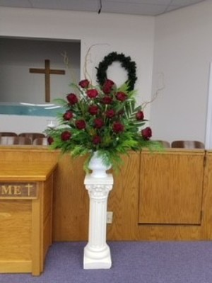 Red Rose Funeral Basket from Kelley's Florist in Lake Placid, FL